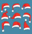 christmas santa claus red cartoon hats isolated vector image vector image