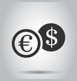 coins stack icon in flat style dollar euro coin vector image vector image