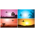 Colorful Airplane Travelling Set vector image vector image