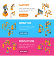 conveyor machines robotic hand banner horizontal vector image vector image