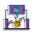 cube design with robotic hands in watercolor vector image