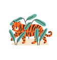 cute childish tiger cub in jungle plants adorable vector image vector image
