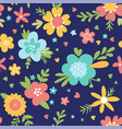 cute flower pattern on dark blue background vector image