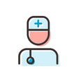 doctor flat outline icon vector image
