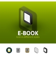 E-Book icon in different style vector image vector image