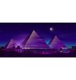 Egyptian pyramids night landscape cartoon