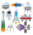 flat set of icons related to space theme vector image