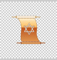 golden torah scroll on transparent background vector image vector image