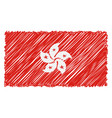 hand drawn national flag of hong kong isolated on vector image