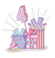 happy birthday party with presents and hat vector image