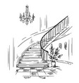 interior design spacious hall and staircase vector image vector image