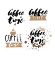 its coffee time phrase ink modern brush vector image
