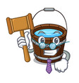 judge wooden bucket mascot cartoon vector image vector image
