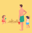 kids building sand castles summer vacation by vector image