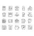kitchen appliance charcoal line icons set vector image vector image