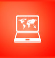 laptop with world map on screen icon isolated vector image vector image