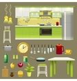 Modern Kitchen Interior Icon Set vector image vector image