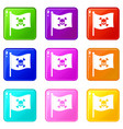 pirate flag icons 9 set vector image vector image