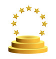 podium with gold stars vector image