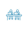 pupils in classroom linear icon concept pupils in vector image vector image