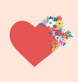 red heart with blooming flowers vector image vector image