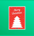 red merry christmas card with snowfall vector image vector image