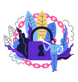 security system and safety lock and key with chain vector image vector image