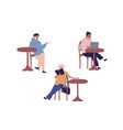 set different people sitting at street cafe vector image vector image