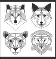 set of polygonal animals polygonal logos vector image vector image
