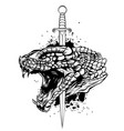 snake and knife old school tattoo tattoo vector image