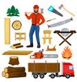 timber lumberman character and logger saws vector image
