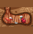 underground scene with ant and ladybug cooking vector image vector image