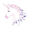 unicorn head with mane and horn on floral vector image vector image
