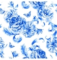 vintage seamless pattern blue roses and vector image vector image