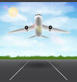 white airplane flying in sky over airport runway vector image