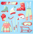 winter sport and clothes icons snow ski vector image vector image