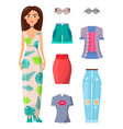 woman and summer mode set vector image vector image