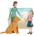Woman teaches a little girl how to behave with a vector image