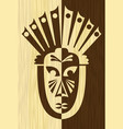 wood art inlay tile with inverse carved face mask vector image