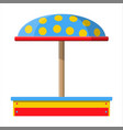 wooden children sandbox for games vector image