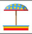 wooden childrens sandbox for games vector image