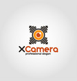 x camera - spy drone camera logo vector image