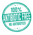 100 antibiotic free sign or stamp vector image vector image