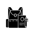 backpack black glyph icon vector image