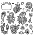 black line art ornate flower design collection vector image vector image