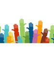 cartoon color hands line vector image