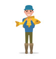 cartoon fisherman holding a fish vector image