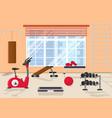 cartoon interior inside home gym with window vector image vector image