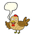 cartoon old rooster with speech bubble vector image vector image
