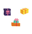 cartoon present gift box ribbon bow set vector image vector image